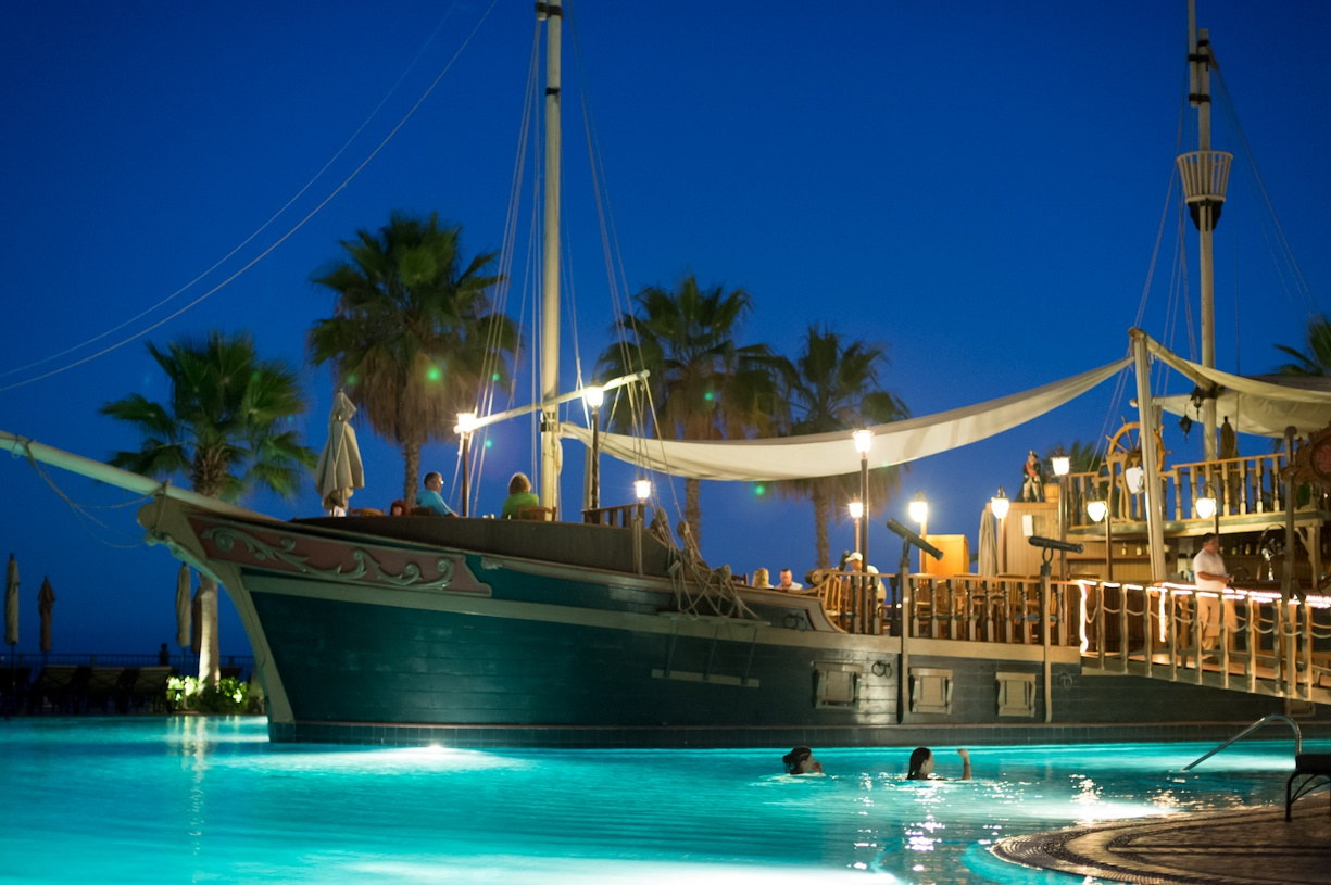 Pirate Ship Restaurant in the main pool at Villa del Arco Timeshare in Cabo San Lucas Mexico