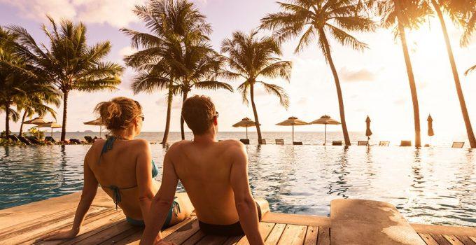 Couple enjoying villa del palmar vacation club in the pool