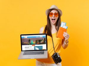 Woman booking mexico vacation